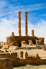 Columns of Timgad, a Roman-Berber city in the Aures Mountains of Algeria. (Colonia Marciana Ulpia Traiana Thamugadi). UNESCO World Heritage Site