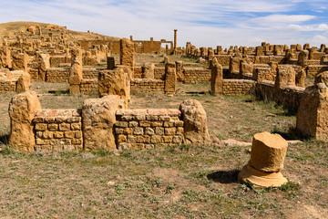 Ruins of Timgad, a Roman-Berber city in the Aures Mountains of Algeria. (Colonia Marciana Ulpia Traiana Thamugadi). UNESCO World Heritage Site