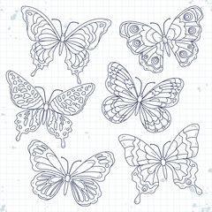 Vector sketch icons, set various decorative butterflies isolated