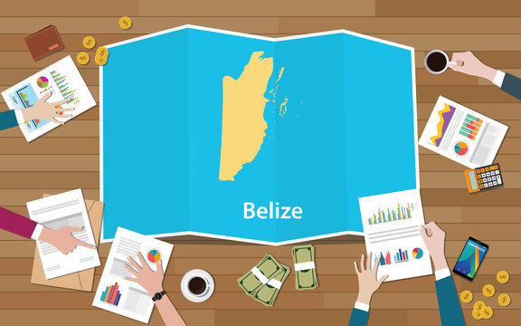 belize economy country growth nation team discuss with fold maps view from top