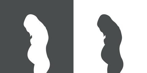 Icono plano silueta mujer embarazada de pie en gris y blanco