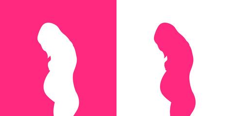 Icono plano silueta mujer embarazada de pie en rosa y blanco