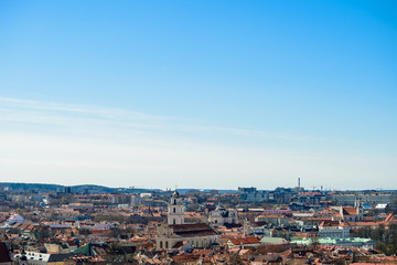 Beautiful spring panorama of Vilnius old town at sunny day. View