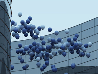 View of blue balloons reflected on glass building, Idea of Celebration by floating balloons on blue sky and round architecture, 3D rendering