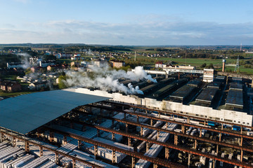 Aerial view of modern large industrial factory, industrial area.