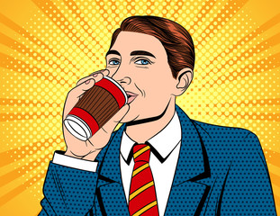 Vector colorful pop art comic style illustration of a businessman in drinking a coffee. Portrait of young handsome guy in suit with paper cup of hot drink