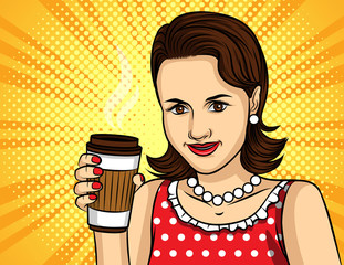Vector colorful pop art comic style illustration of a pretty woman in red dress drinking a coffee. Portrait of young beautiful lady with paper cup of hot drink