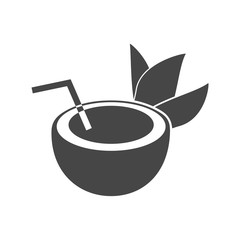 Half of coconut with leaves icon