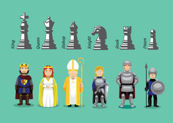 Chess Medieval Character Cartoons Vector Wall mural