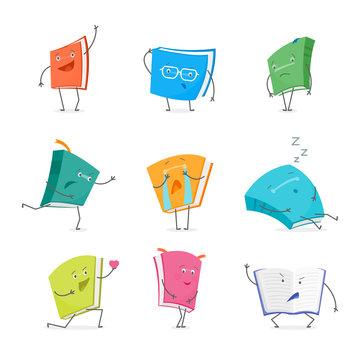 Cartoon Book Emoji Characters Set. Vector