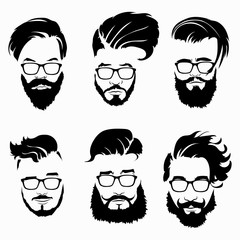 Set of hairstyles for men in glasses. Collection of black silhouettes of hairstyles and beards. Vector illustration for hairdresser.