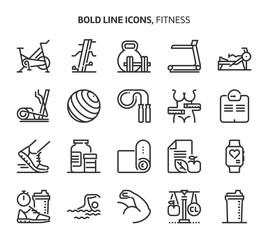 Fitness, bold line icons.