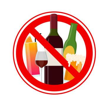 No Alcohol Sign. Vector