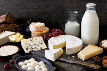 Photo sur Toile Produit laitier Cheese, milk and dairy products on rustic dark wood and slate background.