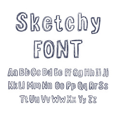 Vector Hand Drawn Sketchy Font, Isolated Pencil Drawings, Letters Set.