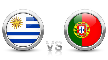 Uruguay vs. Portugal. 2018 tournament. Shiny metallic icons buttons with national flags isolated on white background.