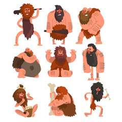 Primitive cavemen set, stone age prehistoric man cartoon character vector Illustrations on a white background