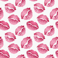 Seamless pattern with lip prints, red lips on white background. Vector illustration