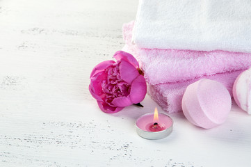 SPA composition with bath bombs and pink peony