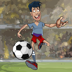 cartoon male soccer player running with a ball across the field