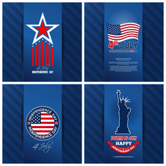 Greeting cards set for the United States Independence Day. 4th of July. Fourth of July. Holiday backgrounds collection for US Independence Day. Happy Independence Day. Vector illustration