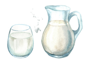 Dairy products. Jug with milk and glass. Watercolor hand drawn illustration, isolated on white background