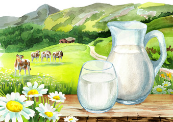 Jug and glass of milk on the table in the background of the landscape and the cows. Watercolor hand drawn illustration isolated on white background