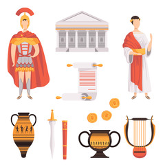 Traditional symbols of ancient Roman Empire set vector Illustrations on a white background