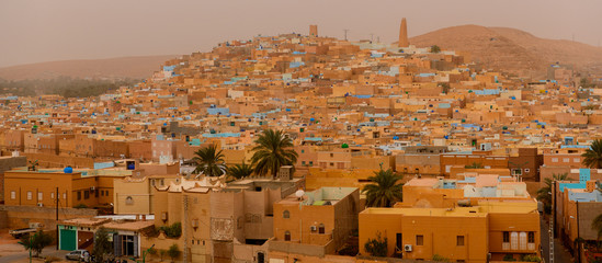Panoramic view of Ghardaia (Tagherdayt), Algeria, located along Wadi Mzab, UNESCO world heriatage site