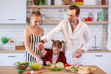 Photo of young parents with daughter preparing food
