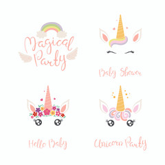Set of hand written baby shower lettering quotes, with cute unicorn faces. Isolated objects on white background. Vector illustration. Design concept for banner, invitation, greeting card.