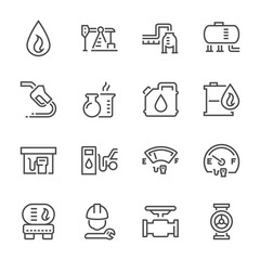 Oil and gas industry icon set, 48x48 perfect pixel and editable stroke.