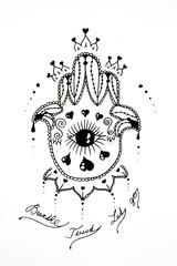 Hamsa decorative black and white hand drawing