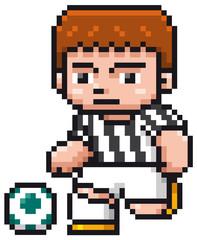 Vector illustration of Cartoon Soccer player - Pixel design