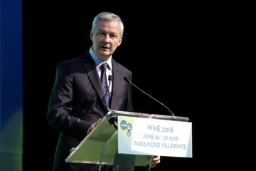 French Finance Minister Bruno Le Maire delivers a speech at the World Nuclear Exhibition (WNE), the trade fair event for the global nuclear community, in Villepinte near Paris