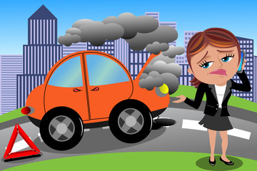 Frustrated Woman Broken Car