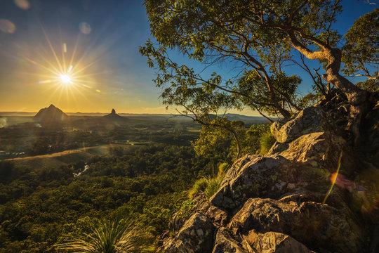 Sunset seen from Mt Tibrogargan, Glass House Mountains, Sunshine Coast, Queensland, Australia