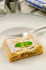 Apple pie. Apfelstrudel. Tart apples with raisins
