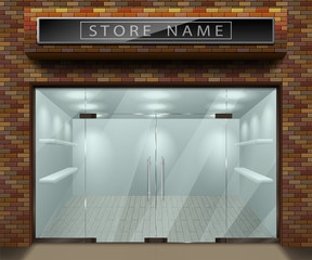 Template for advertising 3d store front facade with red brick. Exterior empty shop or boutique with transparent window. Blank mockup of stylish glass street shop. Vector illustration