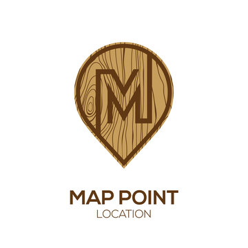 Letter M Logo Map Point Location with wooden texture, Pin maps symbol