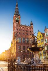 Obraz Piękna fontanna w starym centrum Gdańskiego miasta - fototapety do salonu