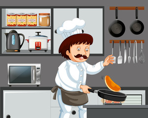 A Chef Cooking Pancake in Kitchen