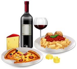 An Italian Cuisine on White Background