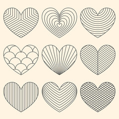 Linear minimalistic art deco heart set