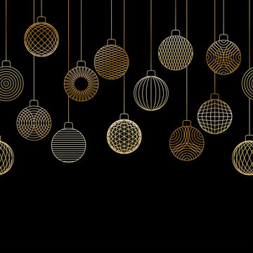 Decorative seamless border made of golden Christmas ball toys hanging on black background