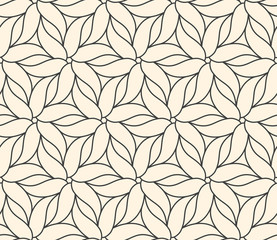 Seamless flower pattern on beige background