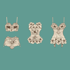 Set of retro lingerie pieces made of linear flowers,