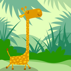 happy giraffe walking in green jungle illustration