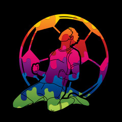 Soccer player the winner action designed using colorful graphic vector.