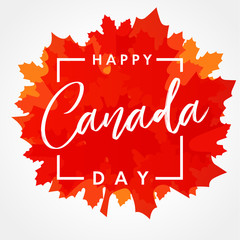 Happy Canada Day lettering on maple leaf banner. Canada Day, national holiday 1st of july with vector text on red maple leaf. Celebrating Canadian anniversary of independence of 1867 years